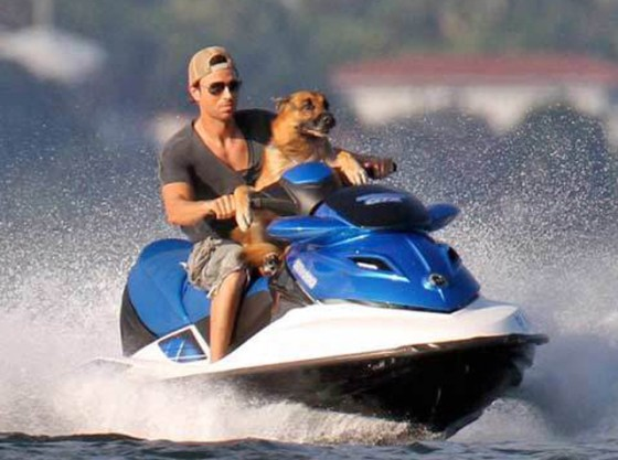 Enrique Iglesias and Lucas Jet Skiing